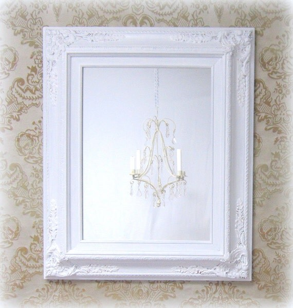 Any color silver teal blue framed baroque by revivedvintage for Baroque bathroom mirror