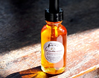 Saint John's Wort Massage & Body Oil- Warming, Sensual, Pain Relief - Aromatherapy - 100% Organic - 1 oz glass bottle
