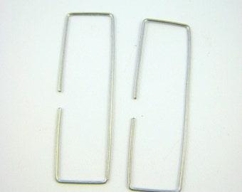 Sterling Silver Rectangle Hoop Earrings. Sterling Silver Hoops. Simple Hoops.  Handmade Jewelry by ZaZing
