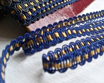 Antique Tape Trim, Vintage Trim Soutache Tape. Metallic Braid 5 yards, Blue Gold Trim French Vintage Gimp. Silk Braiding Upholstery Tape