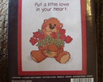 Vintage 1987 Janlynn Counted Cross Stitch Kit -38-62 Put a Little Love in your Heart Bear Roses Free Shipping