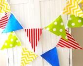 Boy Banner Bunting, Cotton Fabric Pennant Flags, Garland Blue, Red, Yellow, Green, Chevron, Polka Dot, Stripes, Nursery, Shower, Photo Prop