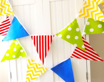 Boy Banner Bunting, Cotton Fabric Pennant Flags, Garland Blue, Red, Yellow, Green, Chevron, Polka Dot, Stripes, Nursery, Shower, Photo Prop