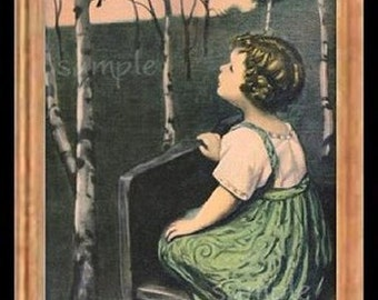 The Girl And The Songbird  Miniature Dollhouse Picture Art 6807