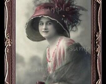 Vintage Lady Miniature Dollhouse Art Picture 1029