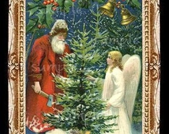 Santa With Christmas Angel Miniature Dollhouse Art Picture 6530