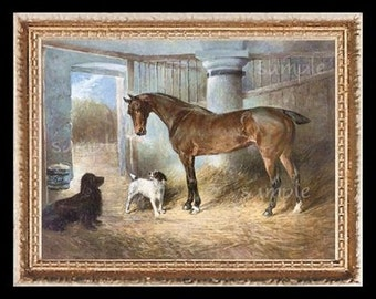 Horse And Dogs  Miniature Dollhouse Art  Picture 1729