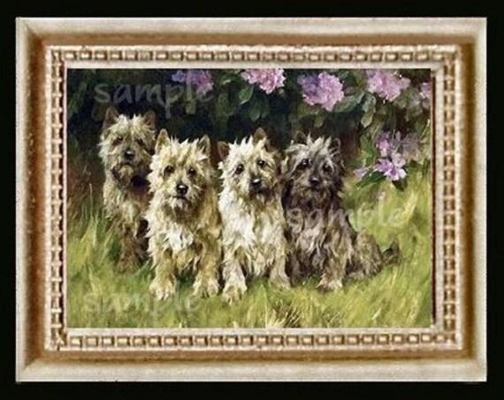 Cairne Terriers Miniature Dollhouse Art Picture 3096