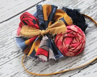 Marigolden Girl- navy, coral, red and mustard, ochre ruffle and rosette headband