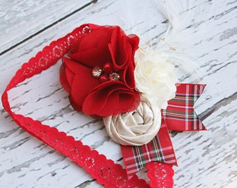 Class Act- vintage inspired holiday headband with shimmer rosette, feather, rhinestones and pearls