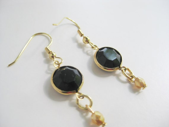 New Design with VINTAGE SWAROVSKI CRYSTALS Black Beaded Earrings - Gold Tone and Black Swarovski Beaded Earrings  - By FerryCreekVintage