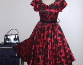 "1980's Full Skirt Dress Vintage Dress Country Couture Dress Red Black 1950's Style Rockabilly Dress Crinoline Fitted Waist 200"" Sweep S M"