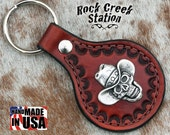 Leather Key Ring Fob with Cowboy Skull Concho, Handmade