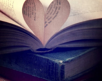 A love for books, Fine art Photograph, Book photo, heart photo, valentines, gift book lover, old books, vintage books, heart shape, 8x10,