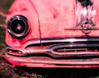 Car Photo, Fine Art Photography, Pink Art, Junkyard, Classic Car Art, Hot Pink, Modern Wall Art, 11 x 14 Print, Gift for Her, Automobile
