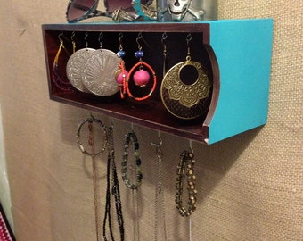 Upcycled Jewelry Organizing Display (Wood and Aqua Box)