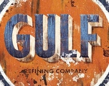 Vintage Gulf Refinery Sign Painting - 12x18 High Quality Art Print