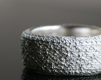 SAMPLE SALE - 50% OFF -  Lacey No. 19 - robust sterling silver ring with rounded edges and a delicate lace texture - ready to ship in size 7