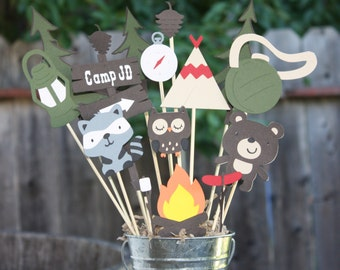 Camping themed Birthday party centerpiece