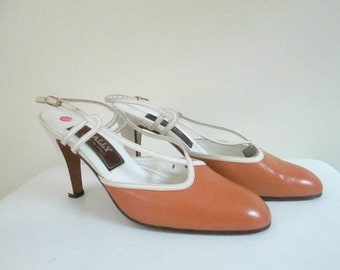 Bally Leather Shoes Slingback High Heel Pumps Designer New Deadstock Size 8