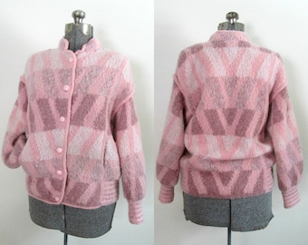 Vintage Pink Wool Gaucho Jacket / Baseball Style Cold Weather / Argentina 1970s 1980s