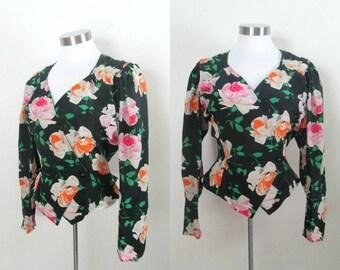 Black Floral Silk Blouse Ungaro Vintage 1980s Fitted Vest Style Designer Fashion