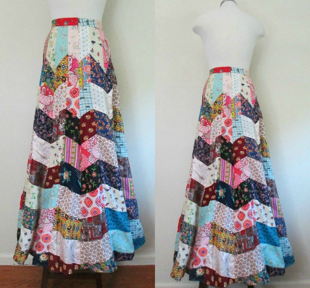 Handmade Patchwork Maxi Skirt Vintage 1960s Woodstock Boho