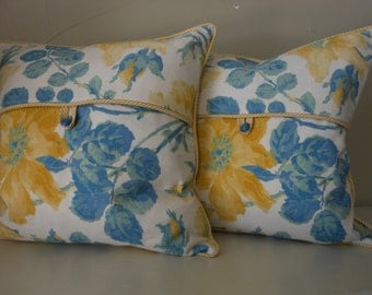 Handmade Decorative pillow covers a pair blue and yellow print yellow stripe cording button closure 17 inch