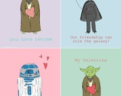 Star Wars Printable Valentines For Kids Star Wars Valentine Cards Heart Love Geeky Sci-Fi Cute Yoda Darth Vader and R2D2 Valentine Printable