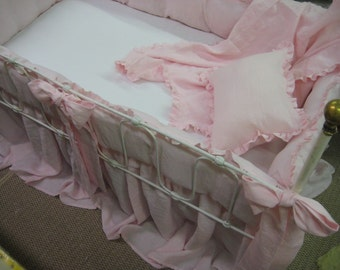 Petal Pink Washed Linen Ruffled Crib Bedding and Accessories-Bumpers-Crib Skirt-Sashes-Pillow-Blanket