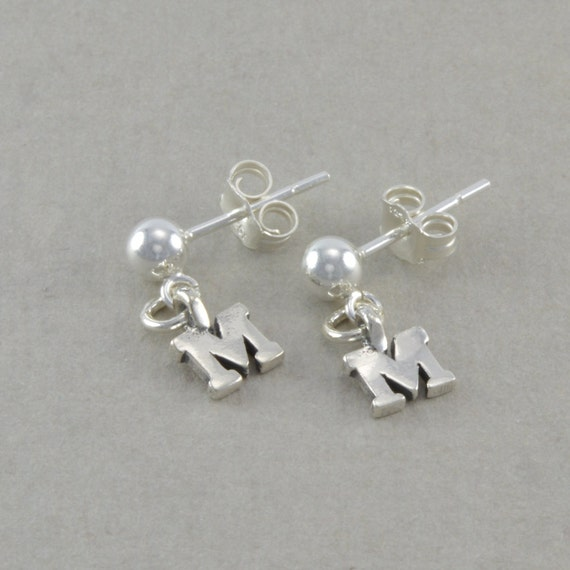 initial earrings little girls post sterling by. Black Bedroom Furniture Sets. Home Design Ideas