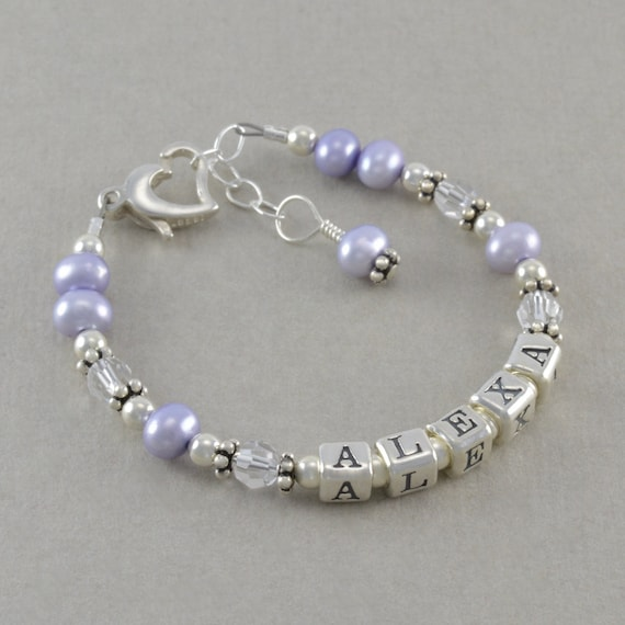 Items similar to Baby Girl Gift, Baby Name Bracelet ...