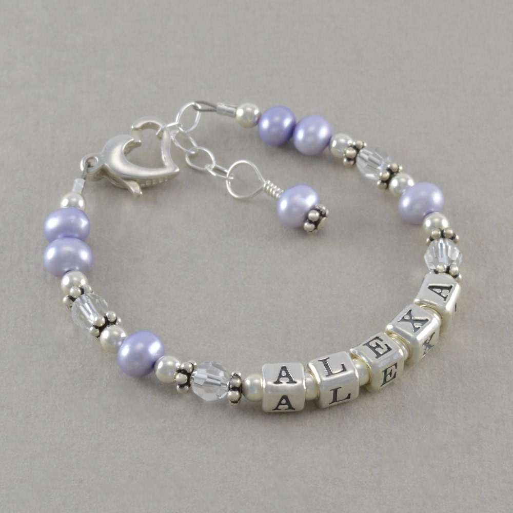 Baby Girl Gift Baby Name Bracelet Sterling by ...