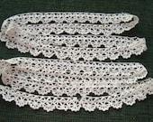 2 pieces Vintage Handmade Lace Trim Ecru Edging