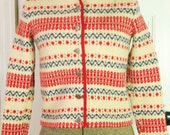 Red, Blue and White Nordic Wool Cardigan/Sweater Sz. Small