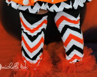 Black white and orange chevron tutu leg warmers w/attached orange fluff for added cuteness Baby Infant Toddler Newborn Girl