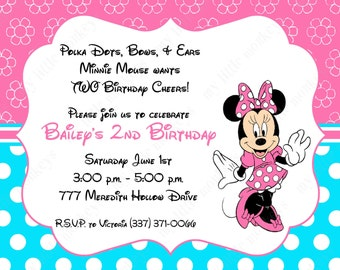 10 Pink & Teal  Minnie Mouse Invitations with Envelopes.  Free Return Address Labels