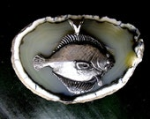 Large Flounder Fish Pendant  Sterling Silver Free Shipping