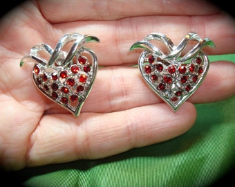 1970s Silver with Red Jewels Strawberry Earrings.