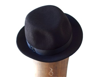 Black Pork Pie Hat - Unisex Wool Hat - Classic Small Brim Chic Designer - All Year Round Hat Unisex - Can be Done in Other Colors