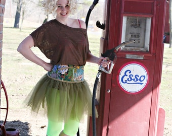 Ladies Vintage Jungle  Corset Tutu with Pockets  -  Size Sm- FREE US Shipping