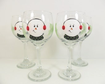 Snowman Wine Glasses Holly Hand Painted Set of 4