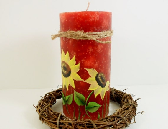 Candle Sunflower Pillar Candle Hand Painted Fall Thanksgiving