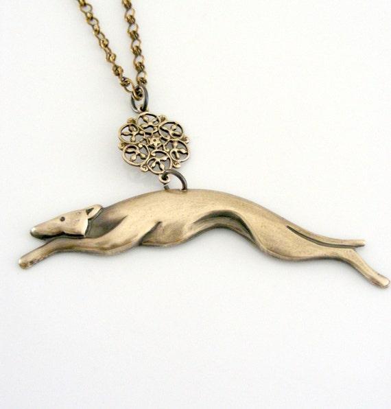 Vintage Necklace - Art Deco Necklace - Greyhound jewelry- Vintage Brass jewelry - Dog Jewelry - handmade jewelry - Greyhound Dog Necklace