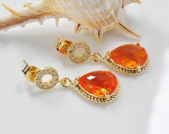 Carnelian Orange Teardrop Stud and Post Gold CZ Earrings,Tangerine Bridemaids Earrings, Crystal Glass cocktail Earrings,Wedding Jewelry