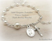 Saint Peregrine Pearl & Silver Heal Cancer Rosary Bracelet - Color of your choice