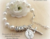 Baby Girl Personalized Baptism Pearl, Rhinestone & Crystal Rosary Bracelet with Miraculous Medal