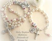 Catholic Baby Girl Baptism Personalized Small Birthstone Rosary & Matching Birthstone Rosary Bracelet
