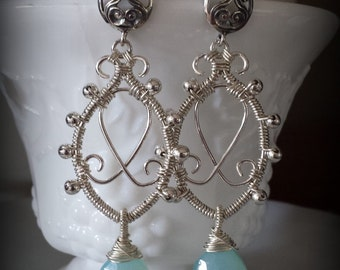 Sterling Silver Wire Wrapped Filigree Dangles with Light Blue Aqua Chalcedony Briolettes, Sterling Silver Scroll Ear Post, Summer Sky