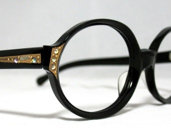 Vintage 60s Round Eyeglasses with Gold Designs Rhinestones